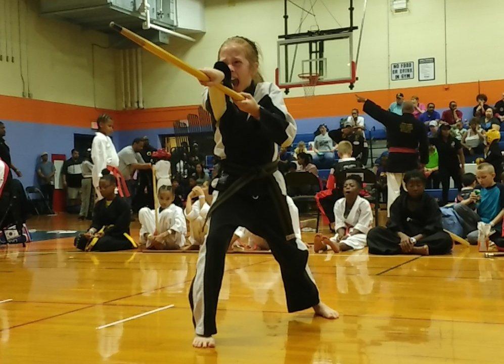 Katie Cardulla wins 6 feet tall Grand Champion Karate trophy