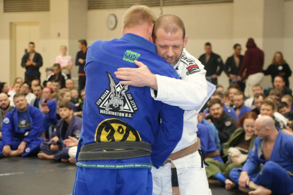 """JR"" Thomas Reynolds receiving his Black Belt Promotion from Sensei Shawn Hammonds in MTSU Tennessee"